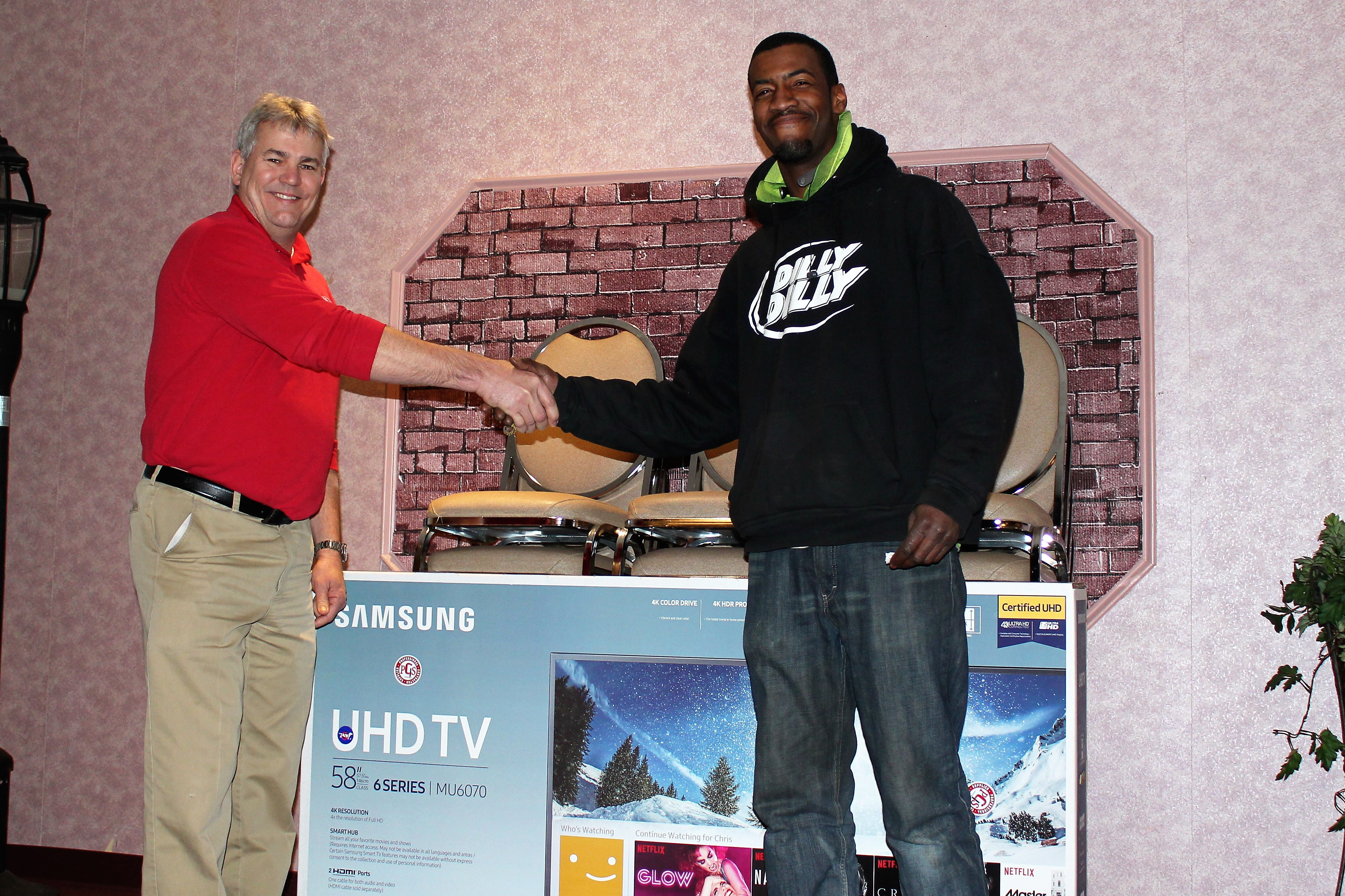 <br /><strong>Congratulations to Brother Jonathan Lewis, who won the drawing for a new TV at the 2018 Tool &amp; Boot Sale.