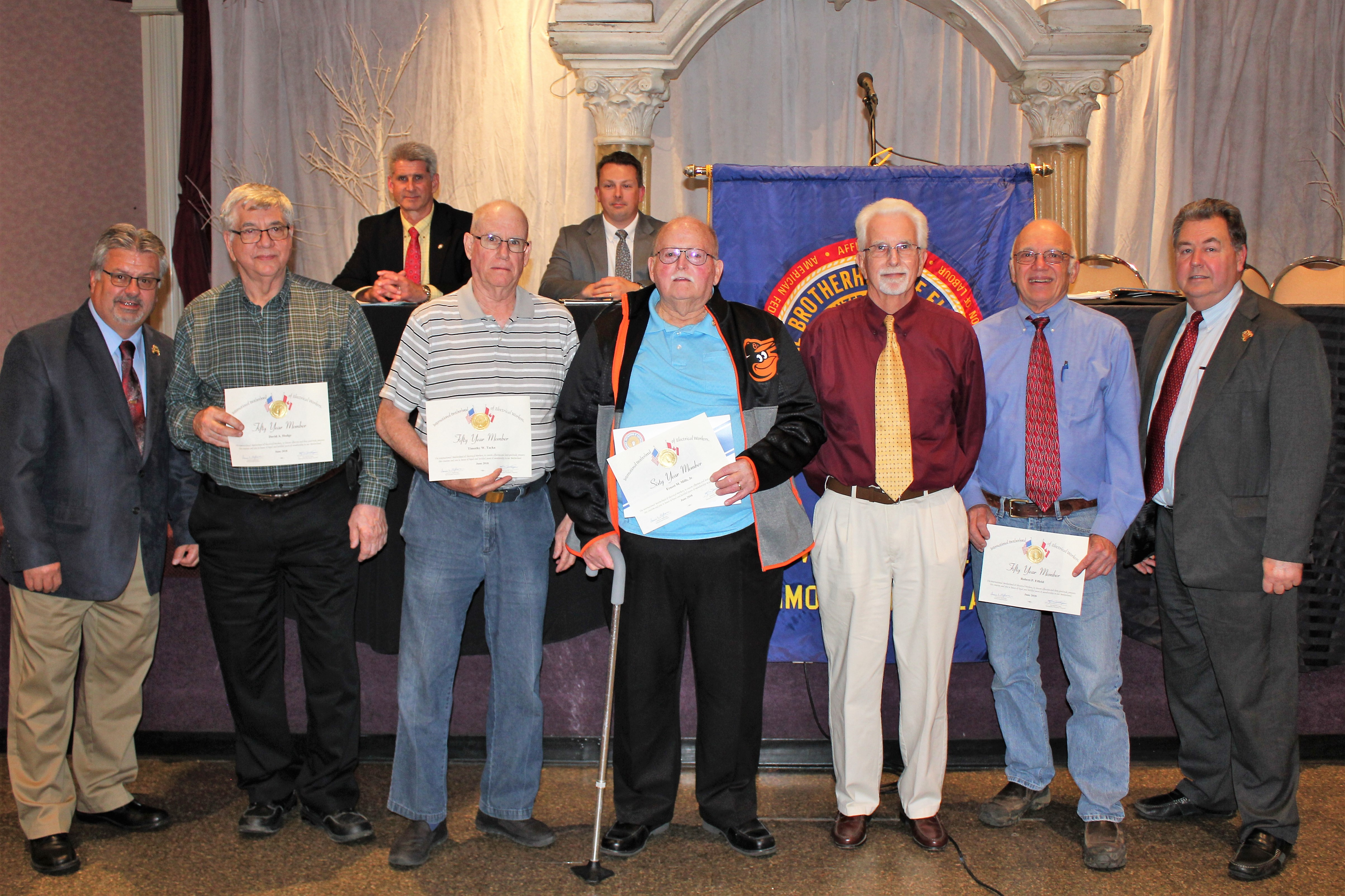 <br /><strong> 60 Year and 50 Year Pins were awarded to 5 members at the May 2018 meeting.