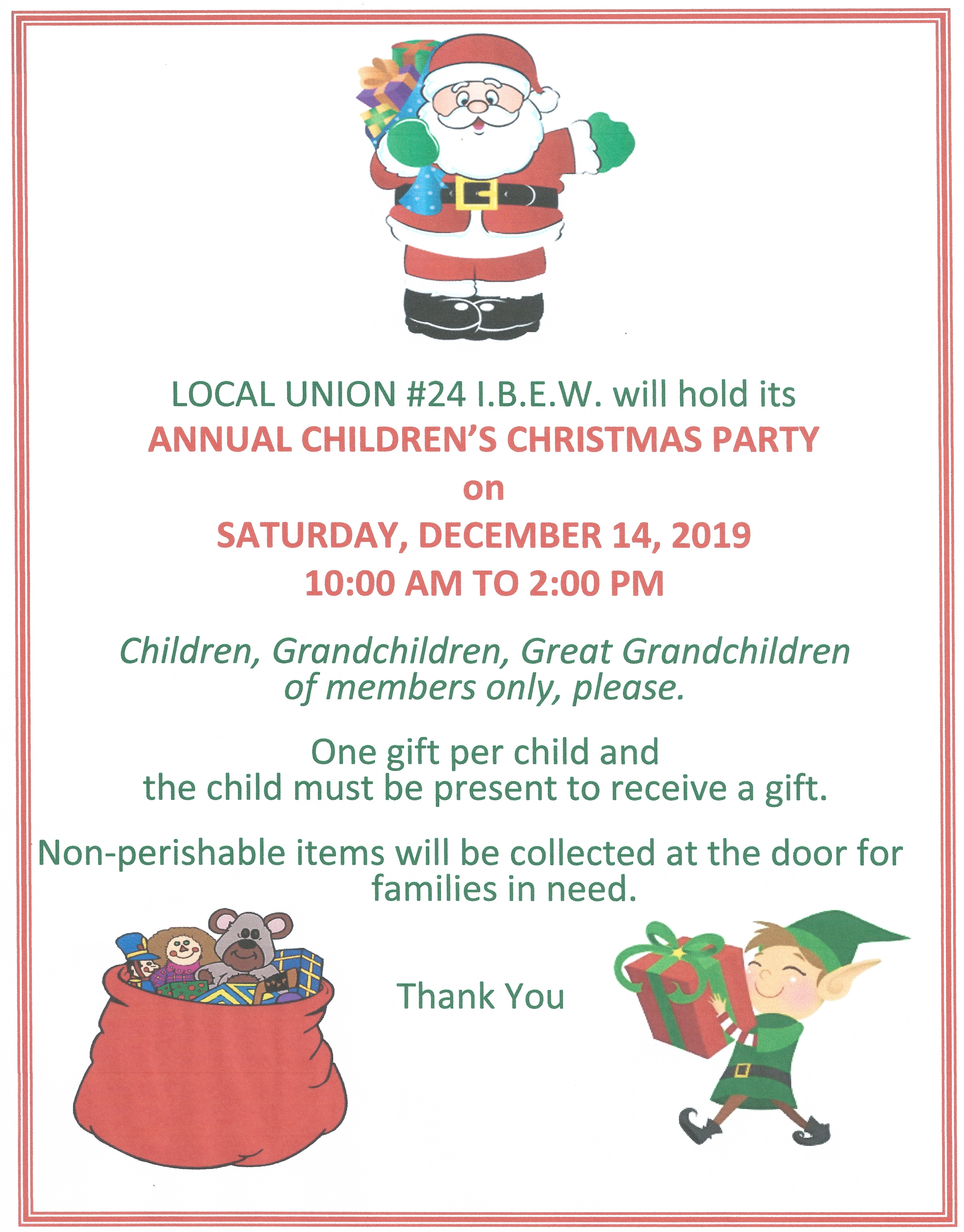 <br /><strong>Our Children's Christmas Party is December 14th!