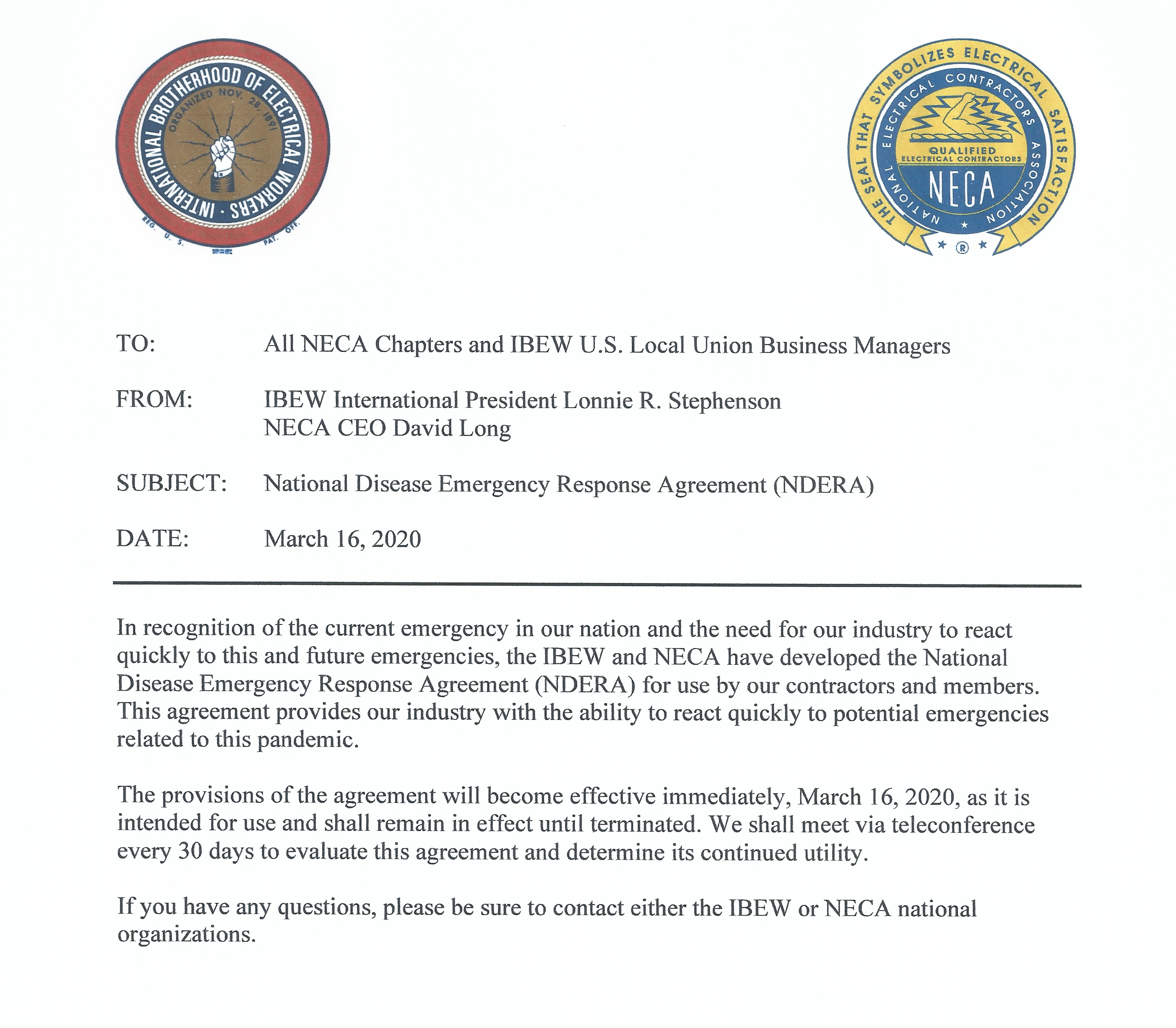 <br /><strong>IBEW and NECA issue National Disease Emergency Response Agreement (NDERA)