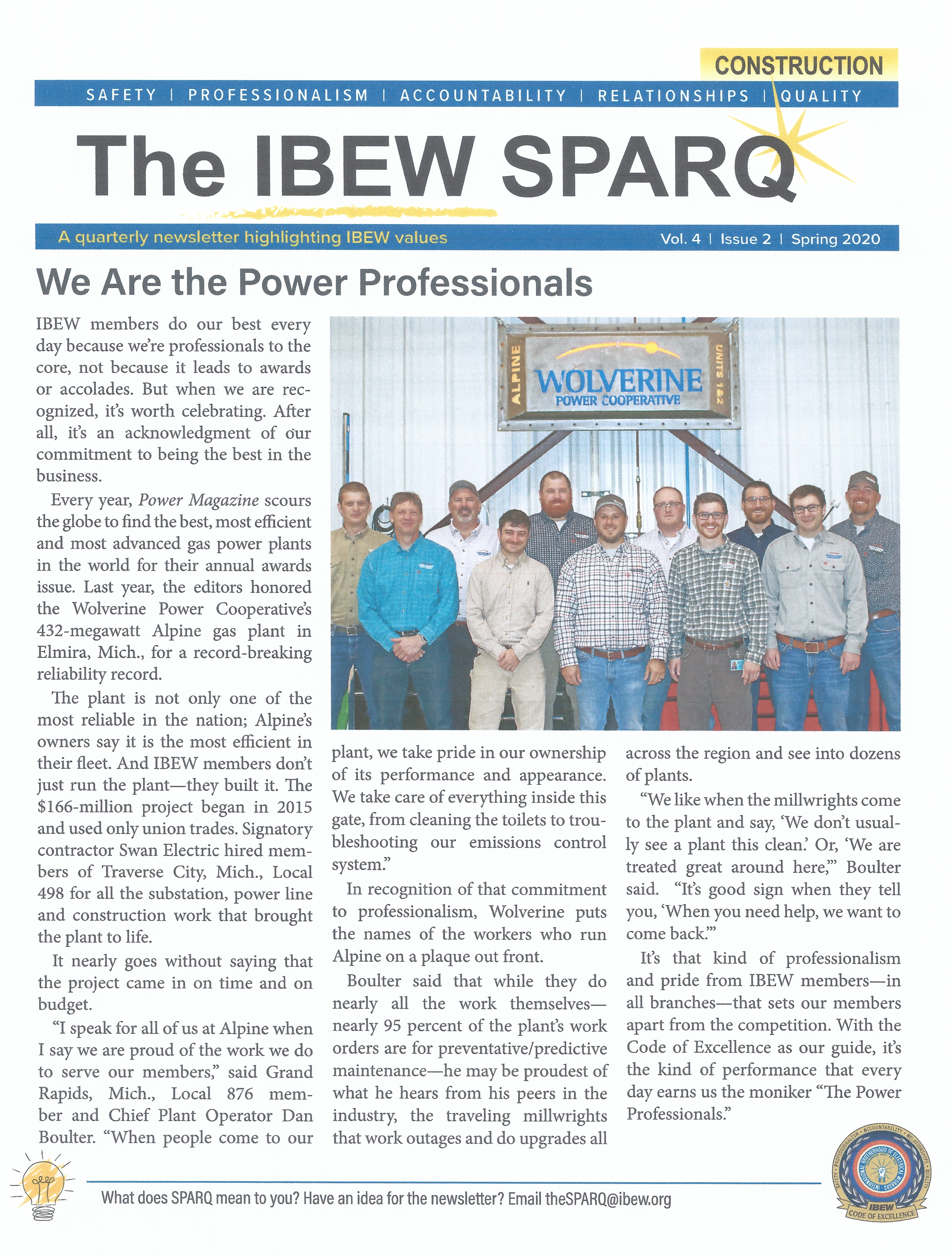 <br /><strong>SPARQ Spring 2020 - Professionalism Is Paramount To The IBEW
