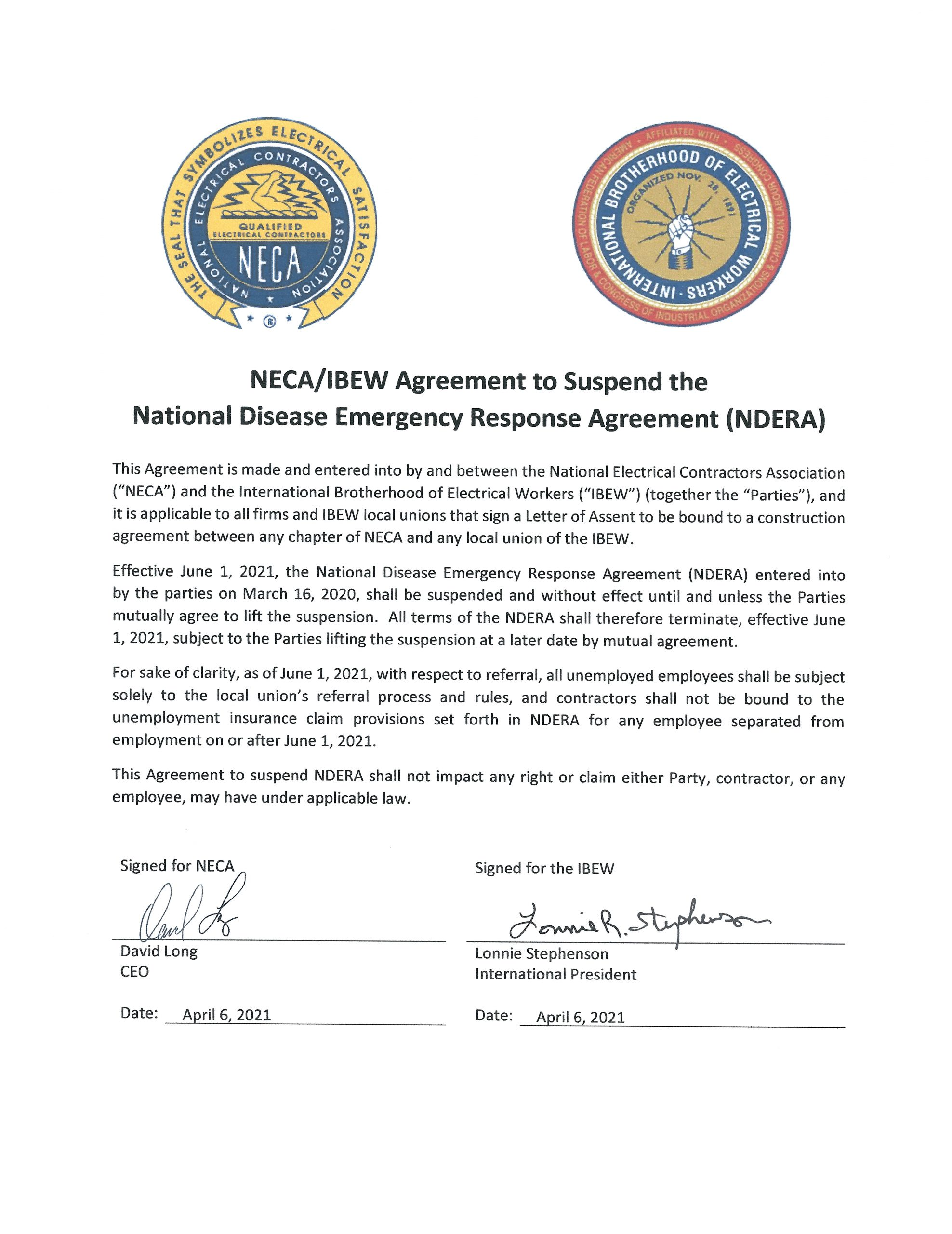 <br /><strong>National Disease Emergency Response Agreement (NDERA) will be suspended June 1, 2021